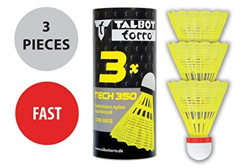 Talbot Torro Badmintonball Tech 350, Nylonfederball, 3er Dose