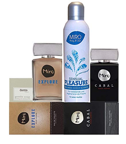 MIRO Duft Collection für IHN: 1 x MIRO CABAL POUR HOMME Eau de Toilette Spray 75 ml + Miro Dusch Schaum 200 ml + 1 x MIRO EXPLORE pour homme Eau de Toilette Spray 75 ml