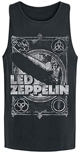 Led Zeppelin Vintage Print LZ1 Hombre Top Tirante Ancho Negro S, 100% algodón, Regular