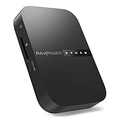 RAVPower FileHub, Travel Router AC750, Wireless SD Card Reader, Connect Portable SSD Hard Drive to iPhone iPad Tablet Smart Phone Laptop for Photo Backup, Data Transfer, Portable NAS, 6700mAh Battery from RAVPower