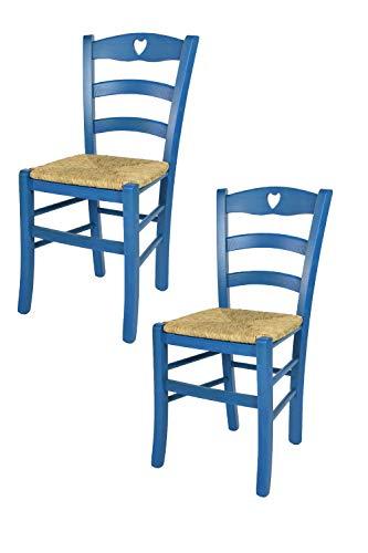Tommychairs - 2er Set Stühle Cuore für Küche und Esszimmer, Robuste Struktur aus Buchenholz, in Anilinfarbe Blau lackiert und Sitzfläche aus Stroh