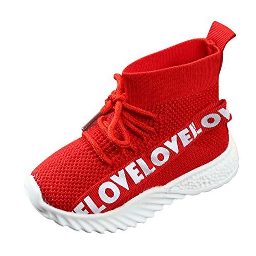 Lazzboy Kinder Baby Mädchen Jungen Hohe Hilfe Mehrfarbig Brief Stretch Run Turnschuhe Sportschuhe Stiefel Schuhe Kind Sport Lauf Stil Mesh Sneaker Freizeitschuhe Laufschuhe(Rot,22)