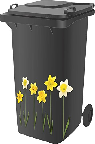 Designer Wheelie Bin Vinyl Self Adhesive Stickers For Dustbin Caravan Fridge Household Items [ Daffodil Design ]
