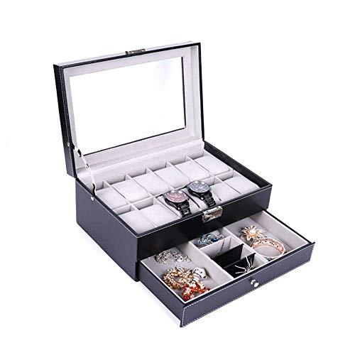 Gymqian Watches Box Watch Box Watch Display Organizer 12 Watch Box Pu Leather Jewelry Display Case with Key&Amp;Lock for Men Women Watch Organizer Fashion/Black/One Size