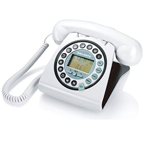 Majestic PHF MAX 252 - Telefono fisso vintage con display LCD e vivavoce, tasti in rilievo, Bianco