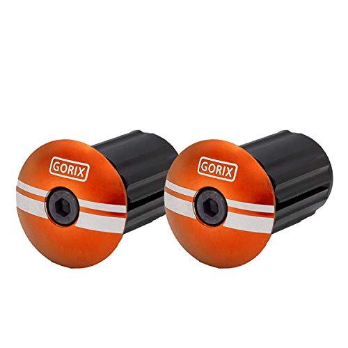 GORIX(ゴリックス) バーエンドキャップ 自転車 固定式 エンドプラグ (2個) バーテープ キャップ (GX-BEND) オレンジ