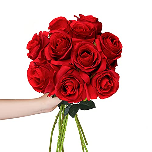 Hawesome Artificial Flowers 10 PCS Silk Roses with Long Stems Faux Realistic Roses for Wedding Bouquets Table Centerpieces Party Home Decor(Red)
