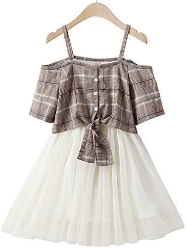 Vestidos de Verano de niñas, Deslizamiento de niños Faldas a Cuadros, Vestidos, Trajes de Falda (Azul) Light Khaki- 120cm