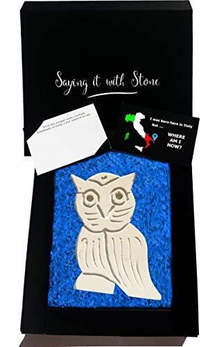 Eule aus Stein - Symbol für Weisheit, Wahrheit, Liebe zum Detail, Ehre und Intuition - Handgemacht in Italien - Box und Nachrichtenkarte enthalten - Vatertag Geschenk Oma Opa Mama Papa