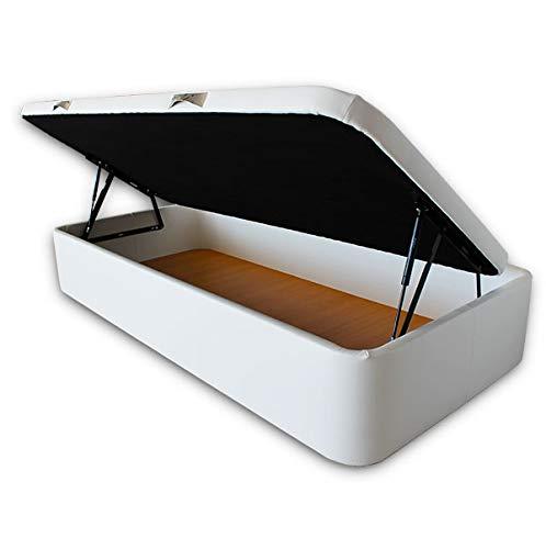 Ventadecolchones - Canapé Abatible Apertura Lateral Serena Gran Capacidad Tapizado en Polipiel Blanco Roto Medidas 90 x 190 cm con Tapa con Borde en Polipiel + Tejido 3D