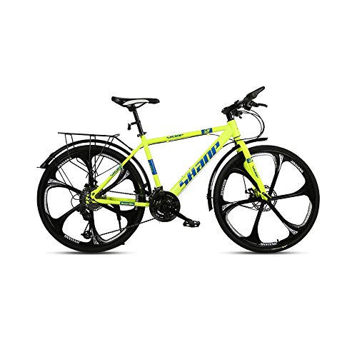 GYZLZZB Six Cutter Wheels Adult 26 Inch 21-Speed Bicycle Full Suspension Gears Dual Disc Brakes Mountain Bicycle, High-Carbon Steel Outdoors Mountain Bike with Shelves and Fenders(Yellow)
