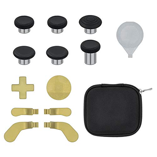 Mcbazel Xbox One Elite Series 2 Controller 13 in 1 Metal Replacement Tools 6 Thumbsticks Grips, 4 Trigger Paddles, 2 D-pads with Carry Case for Xbox One Elite Series 2 Controller - Gold