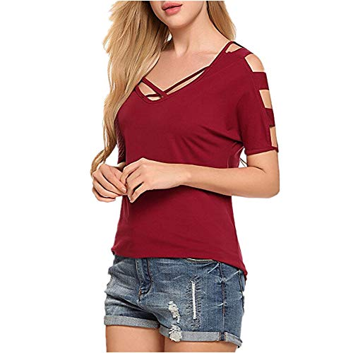 Maglietta Donna T-Shirt Donna Estiva Corta Scollo V Moda Semplice Slim Femminile Nuova Estate Tinta Unita T-Shirt Backless Cross Sexy Casual Moda Top Camicia B-Red M