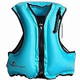 OMOUBOI Adult Portable Inflatable Float Vest,Swim Vest,Snorkel Vest,Snorkeling, Fishing Vest,Swimming,Drifting,Surfing,Diving, (Blue)