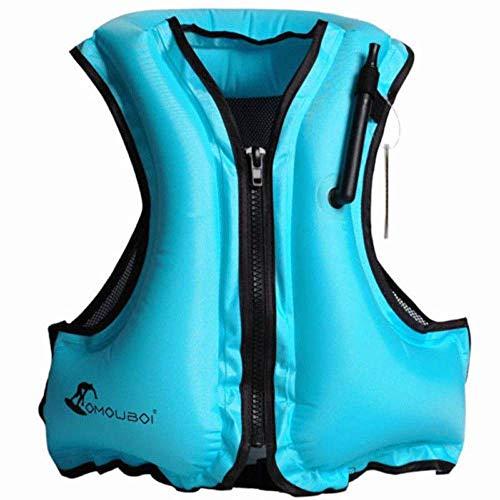 OMOUBOI Erwachsene Tragbare Aufblasbare Auftrieb,Floatageweste,Schnorchelnd, Fischen-Weste, Schwimmen. Fahren, Surfen, Tauchen, Bootfahren, Kayaking, Canyoning (Blue)