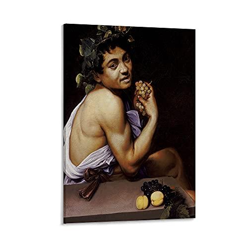 Lienzo para sala de estar, Caravaggio Young Sick Bacchus (1593), sala de estar, baño, oficina, hogar, decoración de pared, 45,7 x 60,9 cm enmarcado