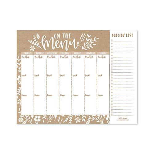 Calendario de planificación de comidas semanal rústico para la lista de compras de comestibles con imán para nevera, despensa familiar magnético organizador de menús, semana, dieta para la semana, herramientas para preparar el refrigerador, qué comer cena, bloc de notas
