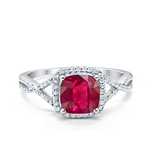 Blue Apple Co. Halo Infinity Shank Engagement Ring Cushion Simulated Ruby Round Cubic Zirconia 925 Sterling Silver, Size-9