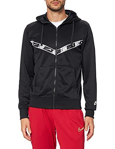 NIKE M NSW Repeat PK FZ Hoodie Sweatshirt, Black/Black/White, L Mens