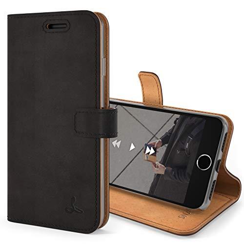 iPhone SE 2020 Schutzhülle/Klapphülle/Snakehive echt Lederhülle mit Standfunktion, Handmade in Europa Bye Snakehive für iPhone SE 2020 (Schwarz)