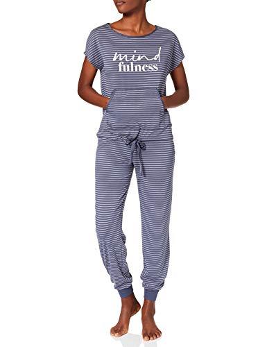 Women' Secret Pijama Largo Manga Corta Rayas, Estampado Azul, M para Mujer