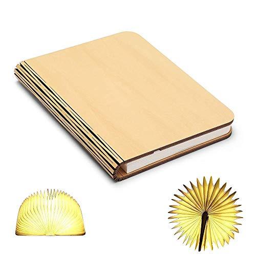 ZBOLE Book Lamp Folding Portable Desk Light Wood Folding Book Lamp, Night Light Magicfly USB Rechargable Book Shaped Light (4.7 x 3.5 inches)