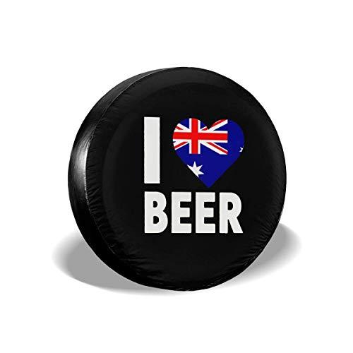 Beth-D Spare Tire Covers Ik hou van Australische bier stof-proof waterdichte Sun Protectors Wiel Cover Fit voor Rv, Suv, Trailer en veel voertuig 14-17inch
