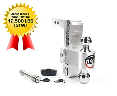 Weigh Safe 180 HITCH CTB8-2-KA 8' Drop Hitch, 2' Receiver 12,500 LBS GTW - Adjustable Aluminum Trailer Hitch Ball Mount & Chrome Plated Combo Ball, Keyed Alike Key Lock and Hitch Pin
