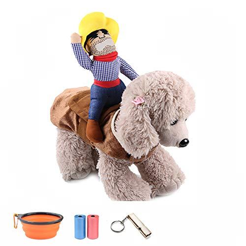 TVMALL Disfraz de perro Mascota Disfraz de Jinete de Vaquero Divertido Disfraz de Jinete de Perro con Ropa de Muñeco y Sombrero para Fiesta Halloween Cosplay - regalo ideal para tu mascota (S)