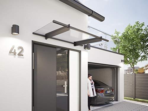 Schulte Vordach New Style, 150 x 90 cm, 4 mm Acrylglas Klar, Anthrazit, Pultvordach für Haustür, V1315-10-30