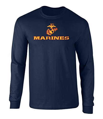 US Marines Two Tone Logo Graphic Long Sleeve Officially Licensed T Shirt Navy Medium