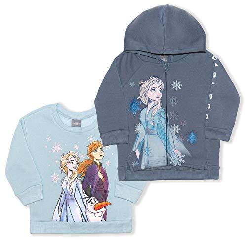 Disney Frozen - Conjunto de sudadera con capucha y cuello redondo para nia de 2 piezas - azul - 3 aos