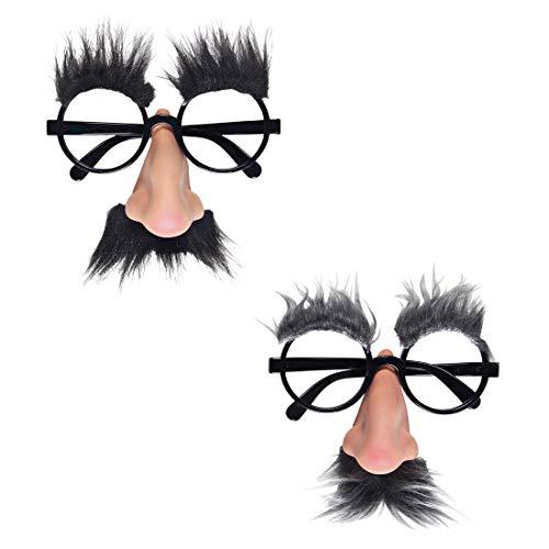 Amakando Lustige Opa-Brille mit Nase, Schnurrbart und Brauen / Schwarz / Tolle Spaßbrille bayrischer Großvater / Wie geschaffen zu Karneval & Straßenkarneval