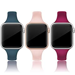 Classic 3 packs sport silicone bands compatible for iWatch 42mm / 44mm Series 6, Series 5, Series 4, Series 3, Series 2, Series 1 Nike+, Sport & Edition. These silicone bands are made of durable and soft silicone, waterproof, elastic, lightweight and...