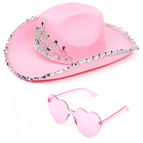 Funcredible Pink Cowgirl Hat with Heart Glasses - Pink Cowboy Hat with Tiara Crown - Halloween Cow Girl Costume Accessories - Fun Rodeo Party Hats and Goggles for Kids, Girls and Women