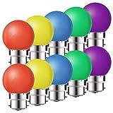 Lot de 10 ampoules LED B22 1W,ampoule écoénergétique colorée Couleur,Ampoule de Noël,Ampoules Guirlande Rouge, Jaune, Bleu, Vert, Violet, (équivalent 10W)