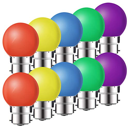 10 Pack B22 Bayonet Coloured LED Light Bulbs,1W G45 Golf Ball Mini Globe Bulb,Red Yellow Blue Green Purple for Outdoor Indoor String, Christmas, Tree, Fairy Party Night Lights