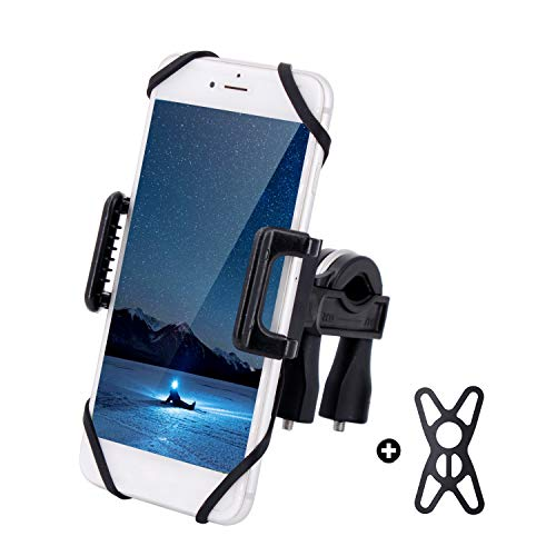 Sagafly Universal Bike Phone Holder, 360° Rotation Anti-Shake Bicycle Phone Mount Motorbike Motorcycle Smartphone Holder with Extendable Silicone Strap for iPhone Android GPS Cell Phone