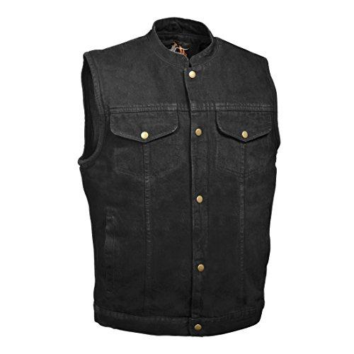 Chaleco para hombre con diseño de vaquero negro oculto, estilo SOA, cierre a presión (3X-Large, Denim Black)