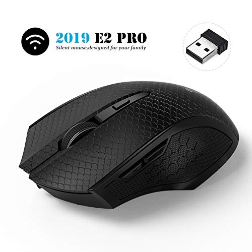 Emopeak Silent Wireless Mouse, E2Pro-Max All Button Noiseless Click with 2.4G Optical Mice 3 Adjustable DPI Levels with USB Receiver