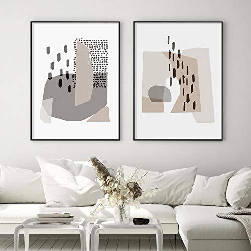 KELEQI (Obra de Arte Giclee) Geometría Irregular Gris Arte Moderno en Lienzo Impresiones de Pintura Carteles para la decoración del hogar de la Sala de Estar (40x65cm) X2 Sin Marco