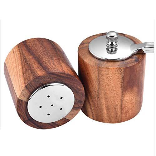 Spice molen, handmatige pepermolen Zeezout kruiden spice molen malen gereedschap met een lange steel pepermolen / 2 stuks,Brown