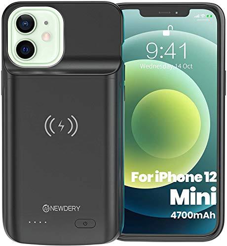 4700mAh Akku Hülle für iPhone 12 Mini Tragbare Ladebatterie Zusatzakku Externe Handyhülle Batterie Wiederaufladbare Schutzhülle Power Bank Akku Case für iPhone 12 Mini(Unterstützung Qi Wireless Lade)