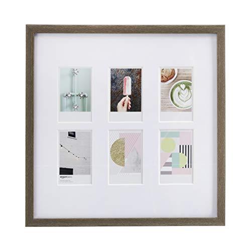 AmazonBasics Bilderrahmen für die Verwendung mit Instax-Sofortbildern, für 6 Bilder, 8 x 5 cm, Scheunenholz