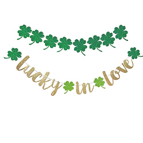 Bandeira de Dia de São Patrício 2 peças da Valicclud com a sorte no amor, trevo irlandês, bandeira, guirlanda para decoração de festa de São Patrício