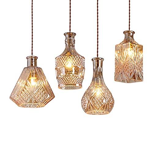 SZJY Lámpara Colgante De Botella De Vidrio 4 Piezas Lámpara Colgante De Viento Industrial Vintage Lámpara Colgante con Pantalla De Botella De Vino De Vidrio Lámpara De Comedor Retro