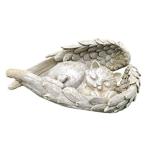 Kaixin Cat Angel Pet Memorial Figurine, Resin Sleeping Cat Within Angel Wings Garden Statue Resin Animal Decoration Multipurpose Animal Statue for Memorial Gift, Garden Gift, Home Outdoor Decor