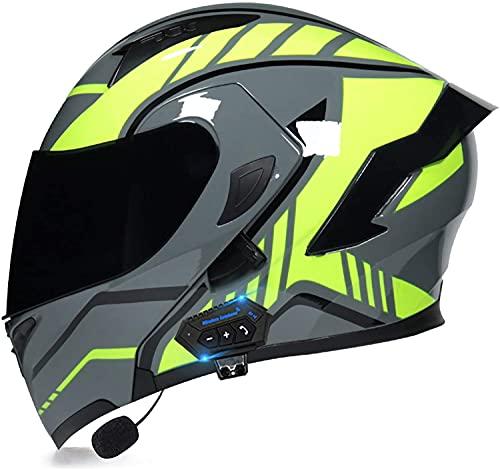 qaqy Motocicleta de Casco Completo para Adultos al Aire Libre Casco Integral Bluetooth Integrado Casco de Moto Modular con Doble Visera Cascos de Motocicleta (Color : C, Size : X-Large)