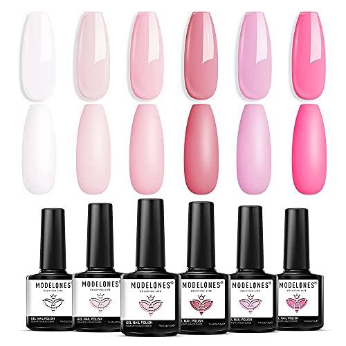 Modelones Gel Nagellack - 6 Farben Nude Gel Nagellack Set Rosa Weiß Nagelgel Soak Off UV Gel Lack Pastell Gel Nageldesign für Nagelstudio Design DIY zu Hause