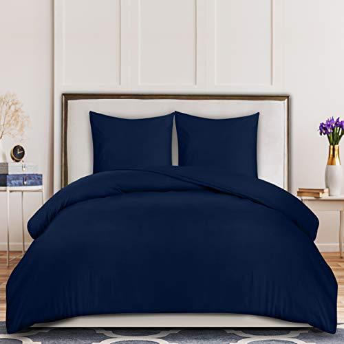 Utopia Bedding Housse de Couette 200x200 cm avec 2 Taies d'oreiller 80x80 cm - (Bleu Marine) Parure de Lit 2 Personnes avec Fermeture Éclair - Sets de Housse Couette en Microfibre